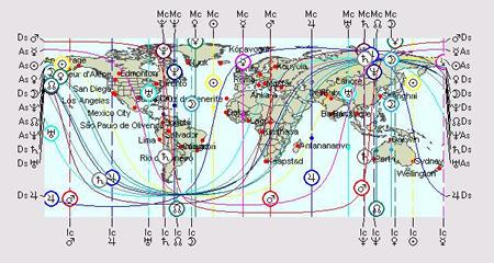 Ernest Hemingway's AstroCartoGraphy Map